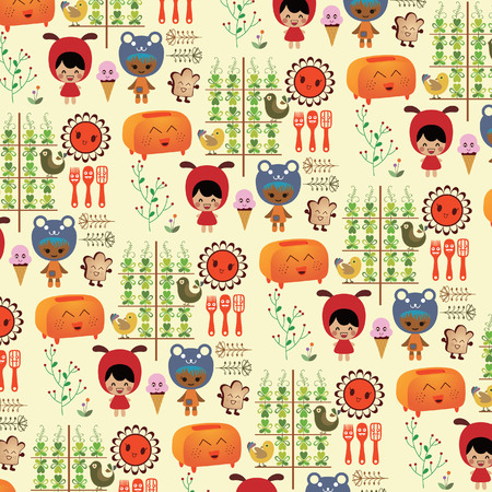 Children Breakfast Pattern Vector