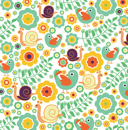 Floral Abstract Bird Background Vector