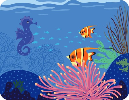 actinia: Sea Horse y peces tropicales Vectores