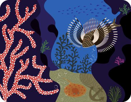 actinia: Planta de mar y peces tropicales