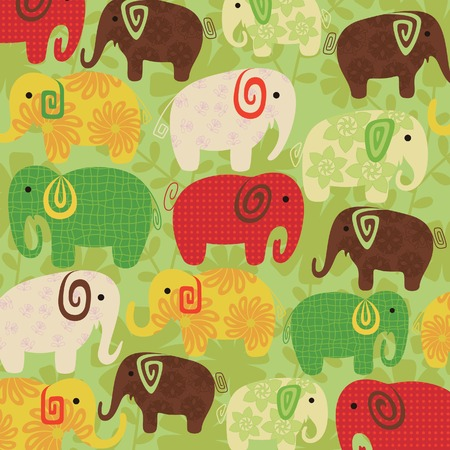 Floral Abstract Elephant Pattern