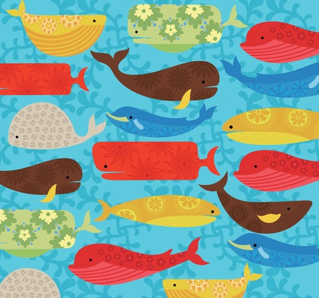Floral Abstract Whale Pattern Illustration