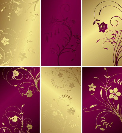 golden texture: Floral Abstract Cards Illustration