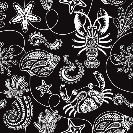 Seamless Sea Shell and Lobster Pattern Vector