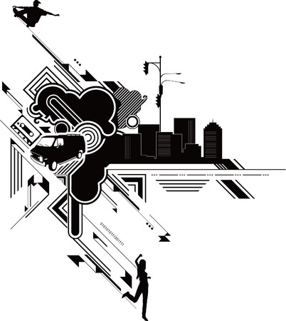 textures: Abstract Urban City with Active People Illustration