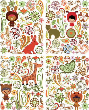 Floral Animals Children Design Elements Illustration
