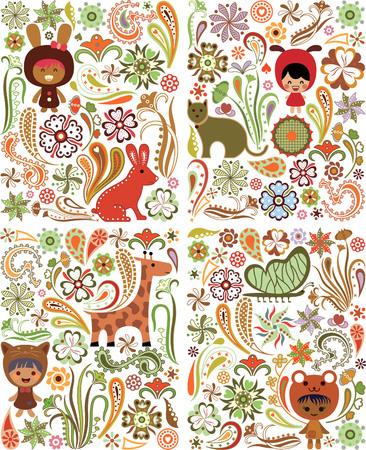 Floral Animals Children Design Elements Vector