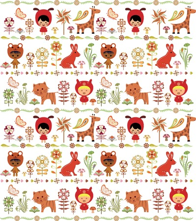 Children and Animals in Garden Pattern Stock Vector - 5541533
