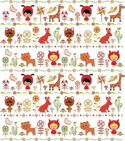 Children and Animals in Garden Pattern Vector