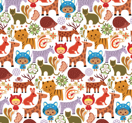 Baby Animals in Garden Pattern Vector
