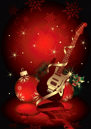 Christmas Gift Guitar Illustration