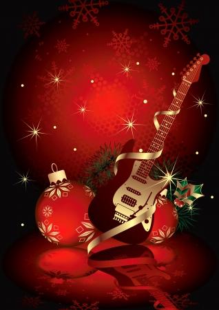 Christmas Gift Guitar Vector
