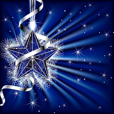 Christmas Star with Ribbon on Emit Background Vector
