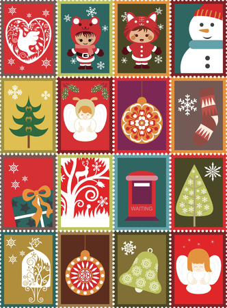 Christmas Stamp Stickers Vector
