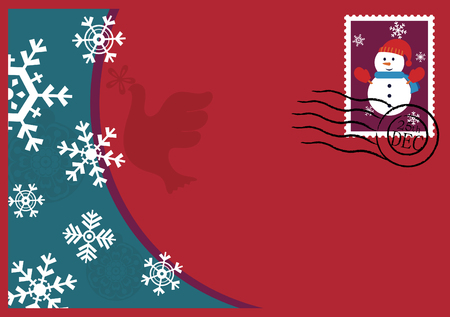Christmas Envelope with Stamp 1 Vector