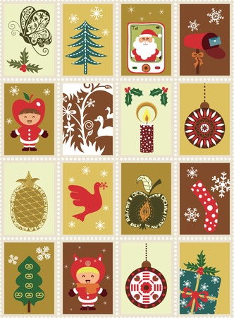 Christmas Design Stamps Elements Vector