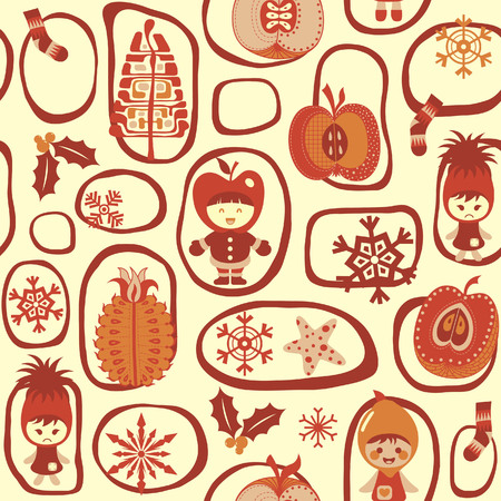 Christmas Child Fruits Pattern 2 Vector