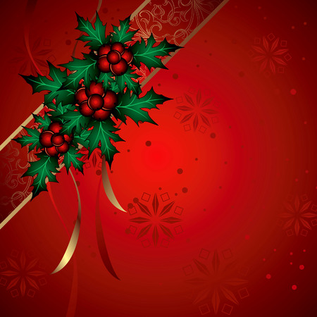 Red Christmas Background with Holly and Ribbon. Vector