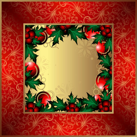 Red Christmas Background with Holly. Vector