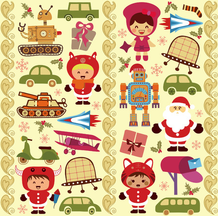 Christmas Toy and Ornament Pattern SEAMLESS Vector