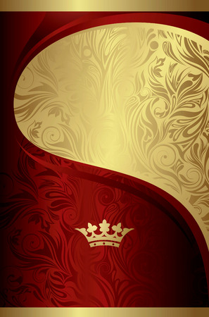 gold textured background: Abstract Curve Background with Crown Illustration