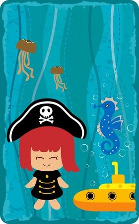 pirate girl: Gift Card 5 Illustration