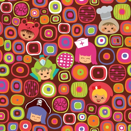 Abstract Colorful Pattern with Children 2 Illustration