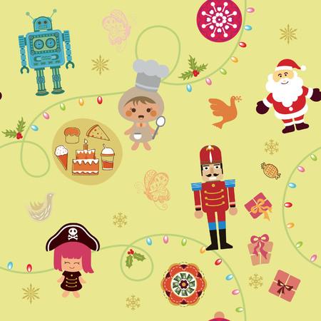 Christmas Cartoon Seamless Pattern 2 Vector