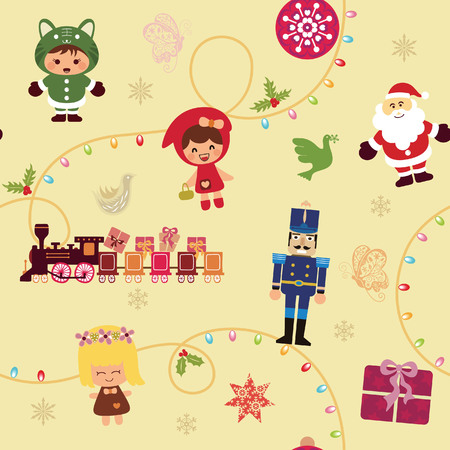 Christmas Cartoon Seamless Pattern 1 Vector