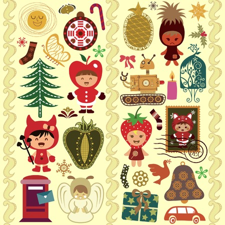 Children and Christmas Design Elements 3 Vector