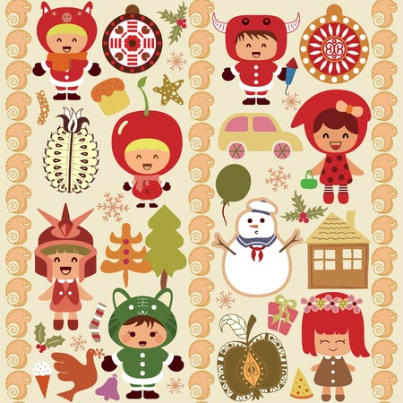 Children and Christmas Design Elements 2 Vector