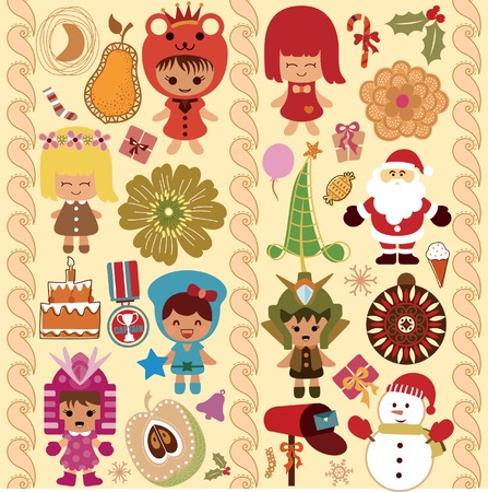 Children and Christmas Design Elements 1 Vector