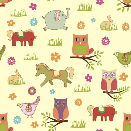Baby Animals Pattern Illustration