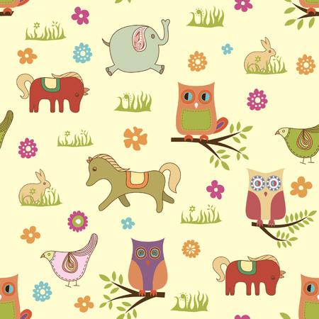 Baby Animals Pattern Vector