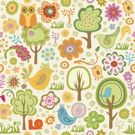owl illustration: seamless floral bird pattern