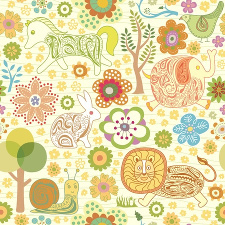 Seamless Floral Animals Pattern Illustration