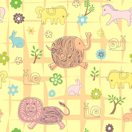 Baby Animal Floral Pattern Vector
