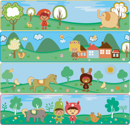 Cartoon Characters and Baby Animals in Nature Banners Vector