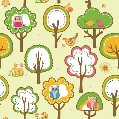 Bird and Tree Pattern Vector