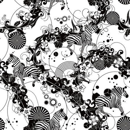 seamless floral pattern with zebra horse Vector