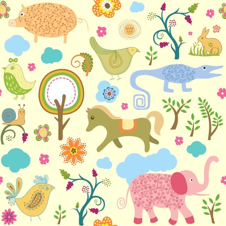 Seamless Baby Animals and Floral Pattern 1 Vector