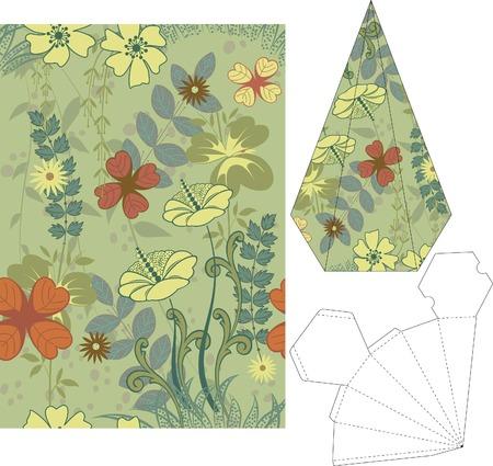 3d gift box folding die cut 6 Vector