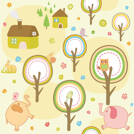 Cartoon Baby Animals Seamless Wallpaper Pattern Vector