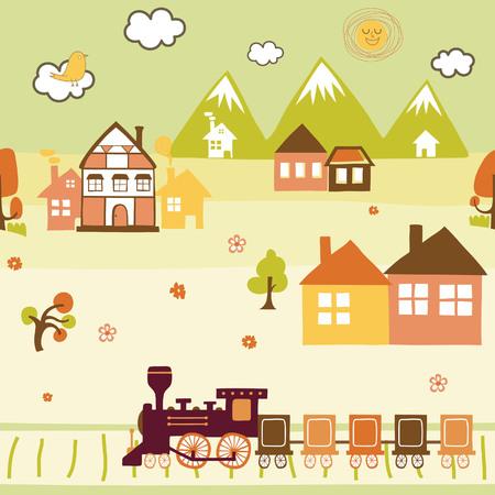 Cartoon Village Seamless Pattern Vector
