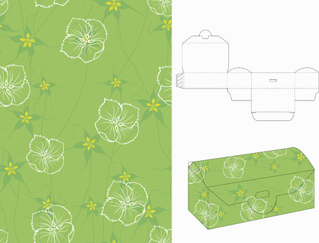 Seamless Floral Pattern with 3d Gift Box Folding 7 Vector