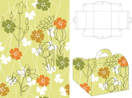 Seamless Floral Pattern with 3d Gift Box Folding 6 Vector