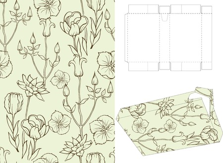 Seamless Floral Pattern with 3d Gift Box Folding 4 Vector