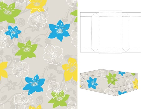 Seamless Floral Pattern with 3d Gift Box Folding 3 Vector