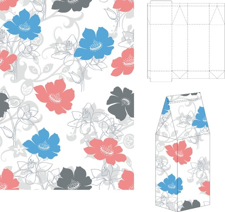 cutting: Seamless Floral Pattern with 3d Gift Box Folding 2 Illustration