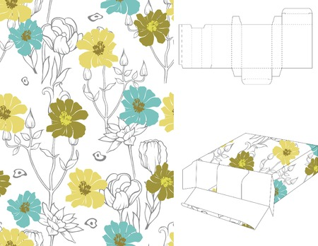 Floral Gift Box Folding 10 Vector